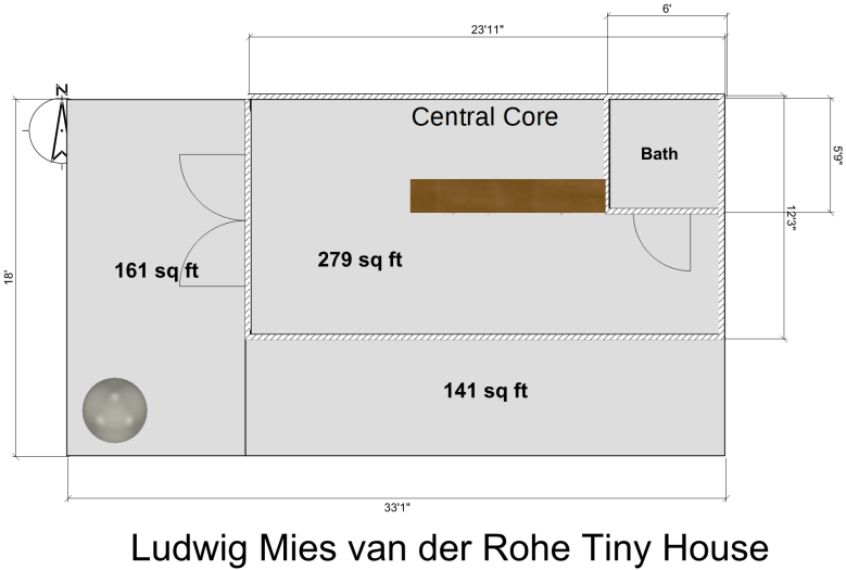 Mies van der Rohe Tiny House Floor Plan