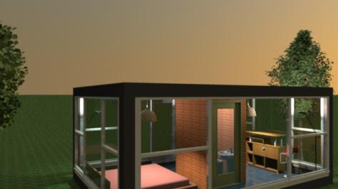 Tiny version of Philip Johnson's Glass House
